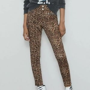 ZARA Leopard Mid Rise Skinny Pants